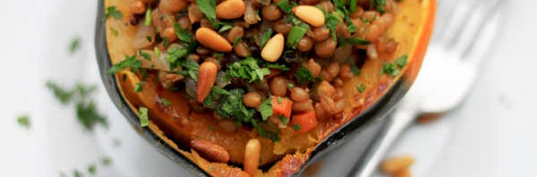 Stuffed Acorn Squash with Wheat Berries, Pine Nuts, and Sage