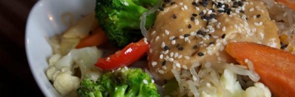 Kelp Noodles in Peanut-Miso Sauce
