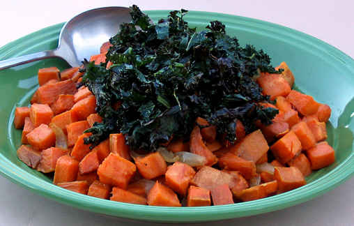 Roasted Sweet Potatoes with Shallots and Crispy Kale Ribbons
