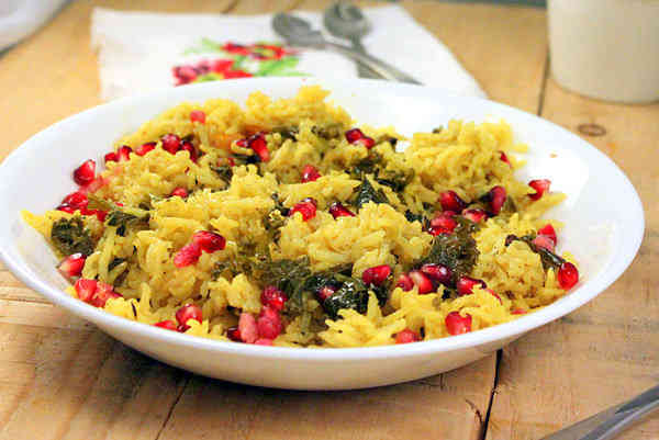 Rice Pilaf with Kale, Cashew and Veggies
