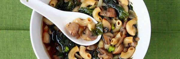 Cremini Mushroom, Rainbow Chard, Shallot Soup