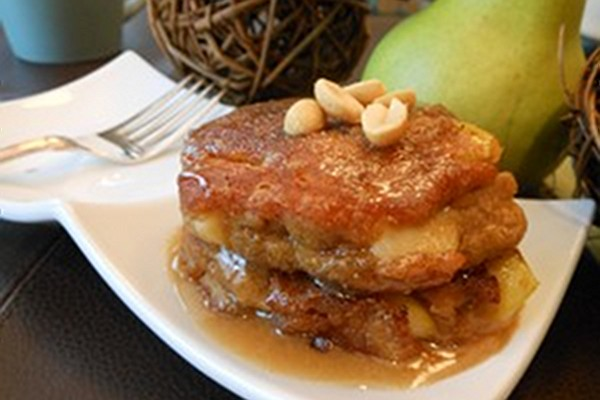 Peanut Butter and Fresh Apple Pancakes with Peanut Butter Maple Syrup