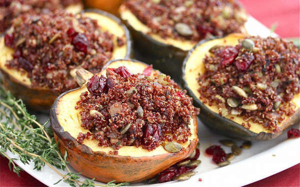 Roasted Acorn Squash Stuffed With Quinoa Mushroom Pilaf [Vegan]
