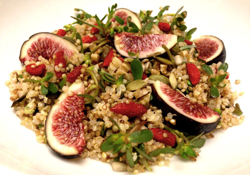 Recipe: Quinoa Salad with Figs, Purslane and Goji Berries