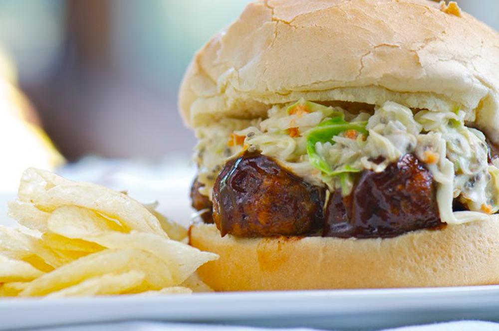 Vegan BBQ Lentil Meatball Sandwich with Sweet Miso Coleslaw