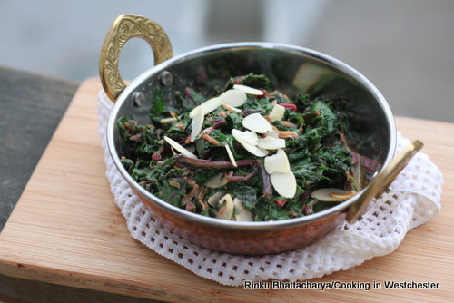 Beet Greens with Garlic and Toasted Almonds