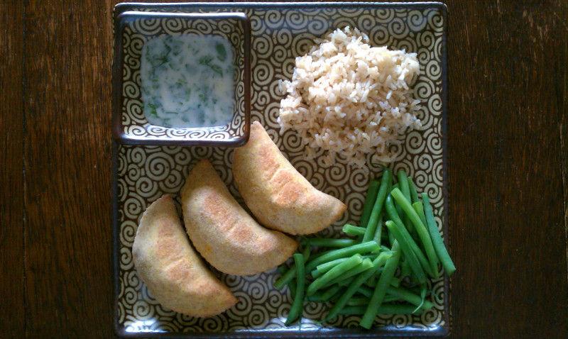 Vegan Potato Samosas with Coconut-Mint Chutney
