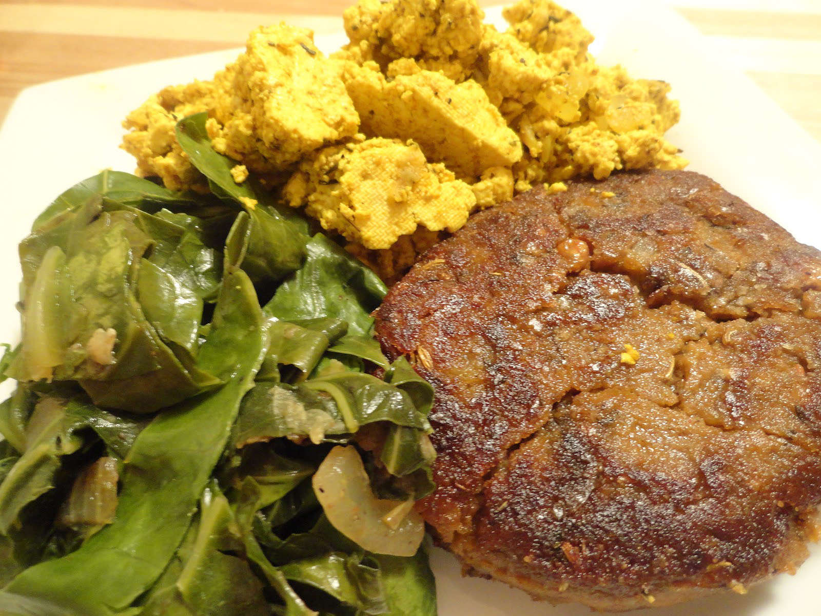 vegan breakfast sausage with tofu scramble and greens