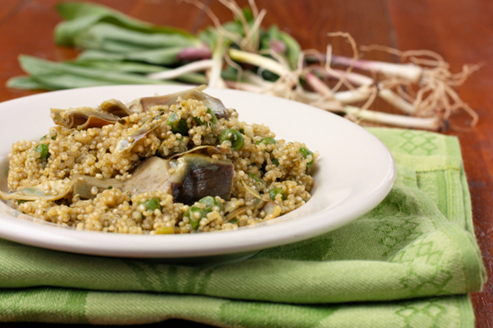 Quinao Pilaf with Ramps, Artichokes, and Peas