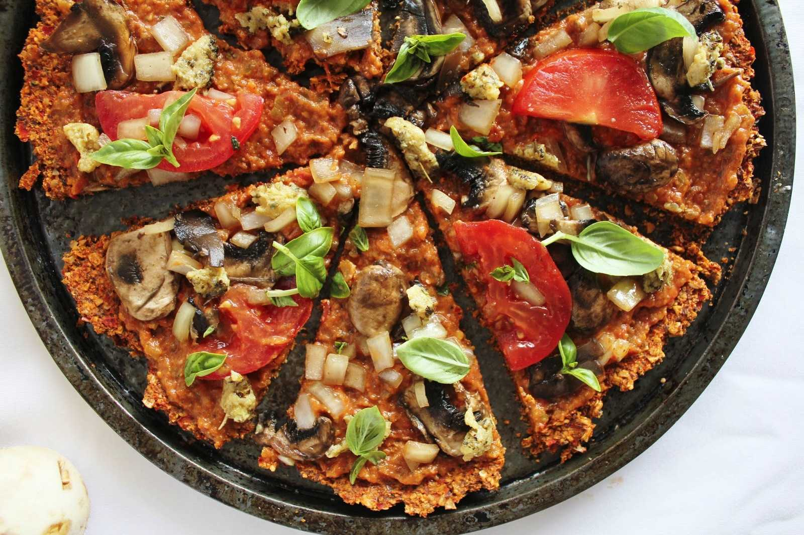 Raw Vegan Pizza Recipe with Red Pepper Flax Crust