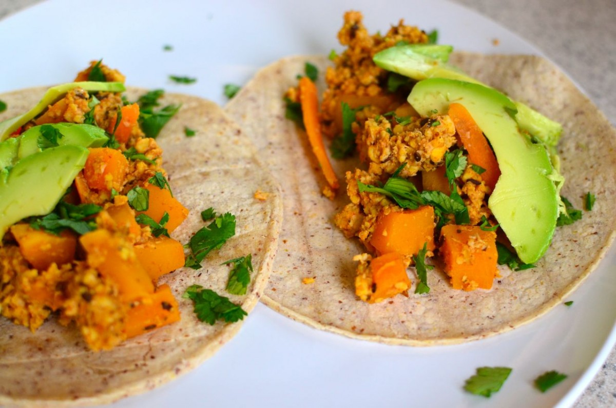butternut tacos with tempeh chorizo