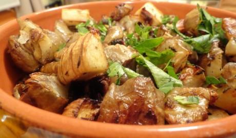 Roasted Jerusalem Artichokes with Braised Garlicky Kale