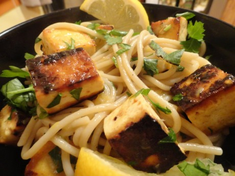 vegan shrimp scampi over lemon butter pasta