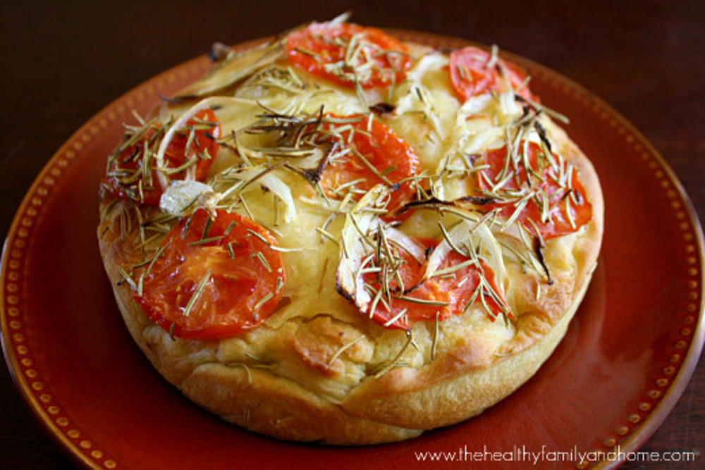 Vegan Focaccia With Roma Tomatoes and Onions