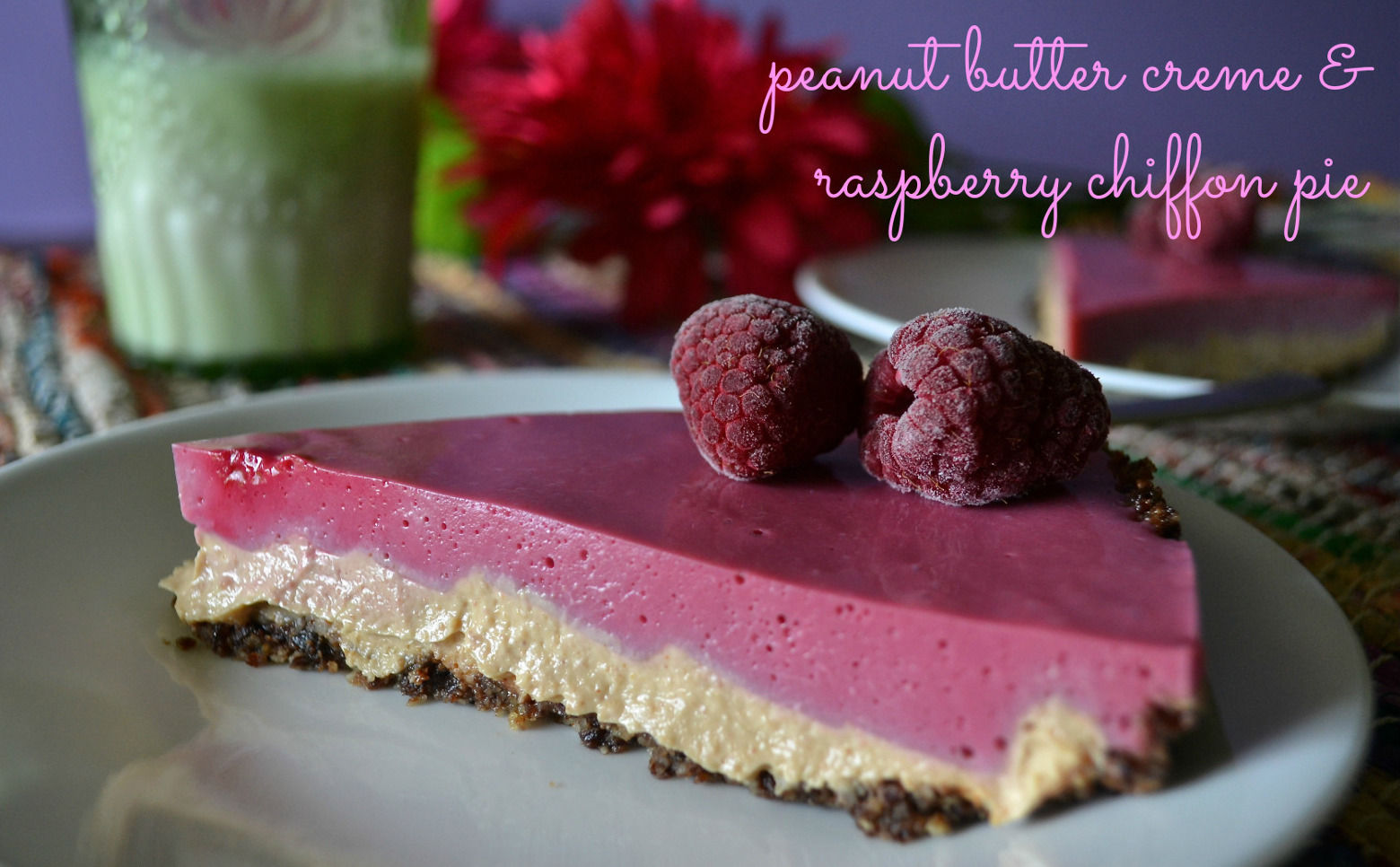 Vegan peanut buttercream and raspberry chiffon cake
