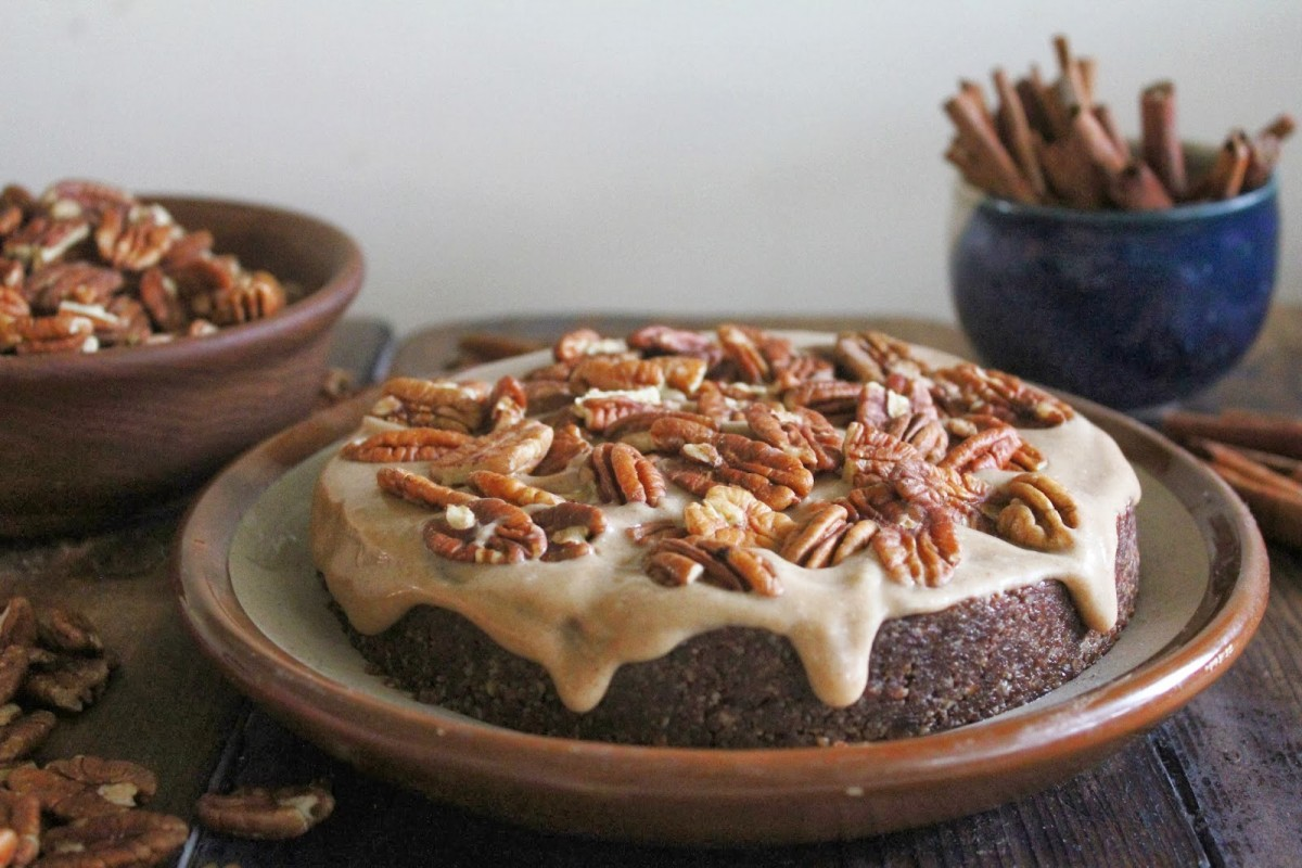 Raw Chocolate Caramel Pecan Cake