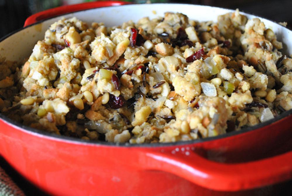 Vegan Wild Rice, Cranberry and Pine Nut Stuffing. Gluten Free Option!