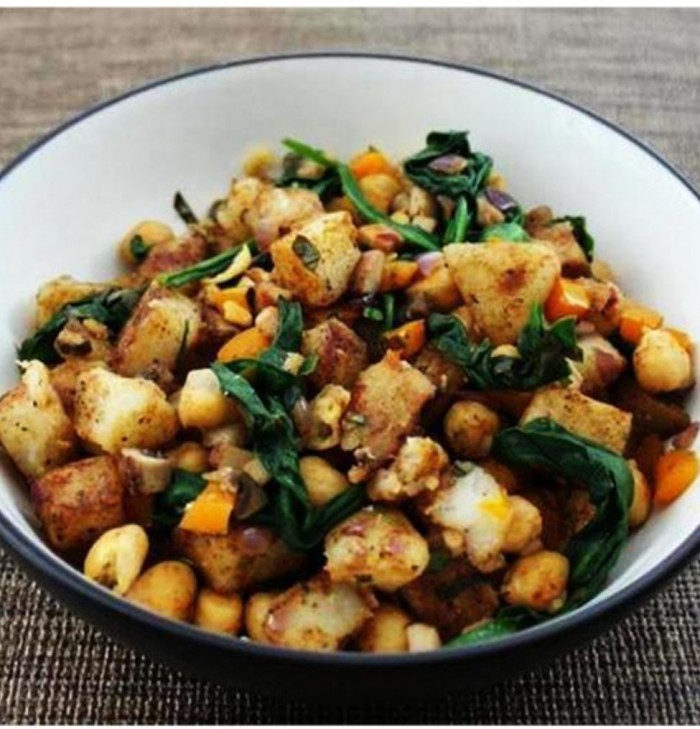 warm potato salad with chickpeas