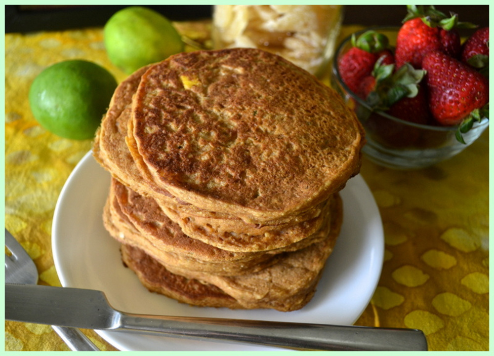 Mango Lime Pancakes with Ginger and Coconut