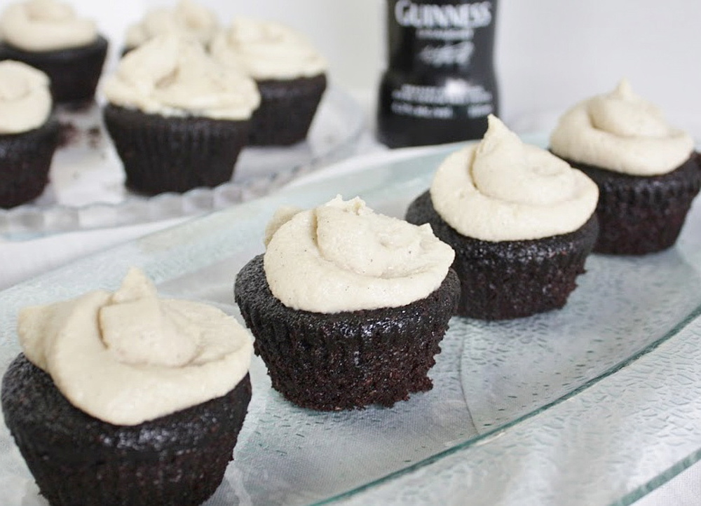 vegan Guinness Chocolate Cupcakes With Maple Whiskey Vanilla Frosting