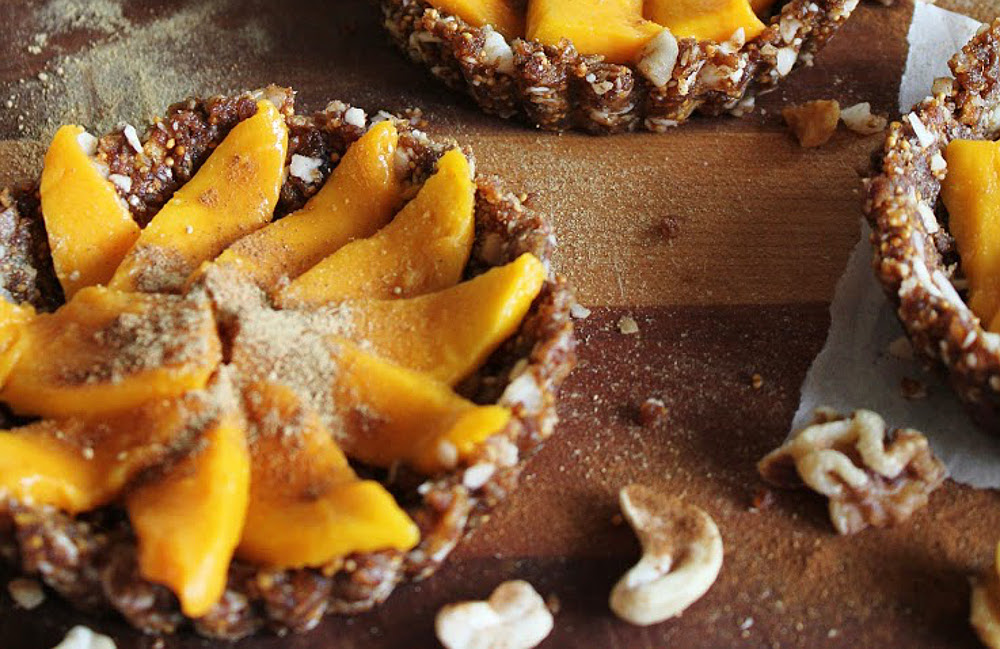 Raw Coconut Mango Tarts with Figs, Walnuts, Cinnamon, & Ginger