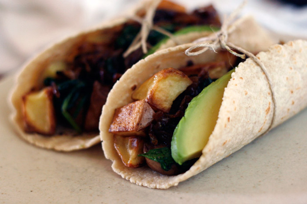 Tacos With Spinach, Mushroom, Potato, and Caramelized Onions