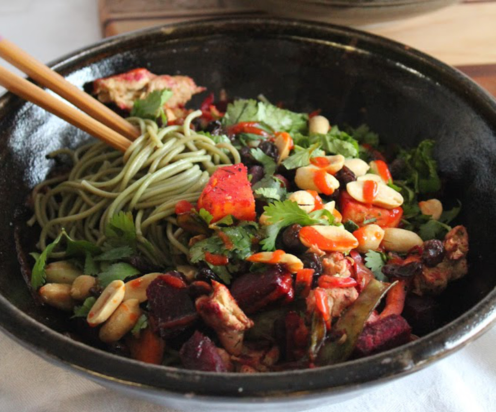 Vegan green tea soba noodles with roasted vegetables and herbs