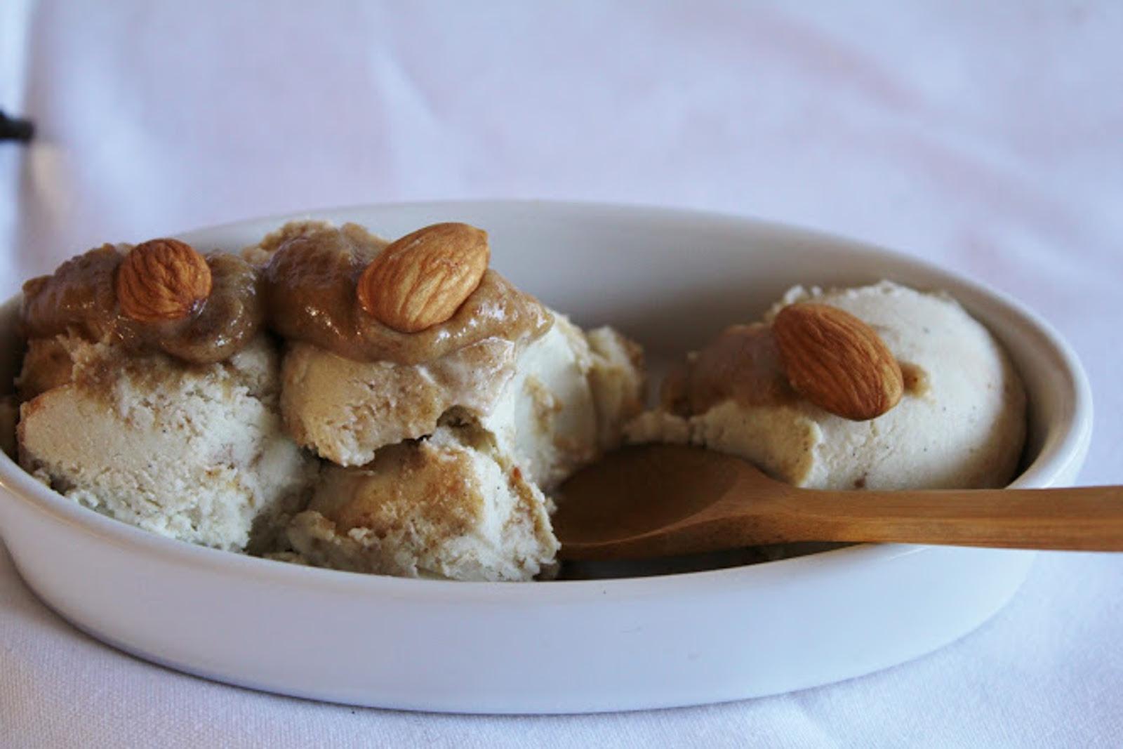 Olive Oil Ice Cream & Vanilla Coconut Ice Cream With Caramel