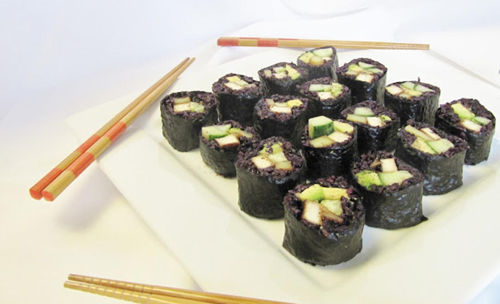 Teriyaki Tofu Roll With Avocado, Cucumber, Potato, and Black Rice
