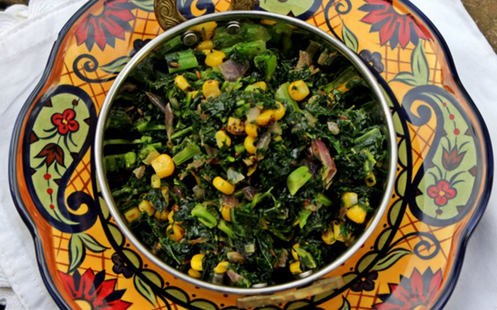 Kale and roasted corn stir fry