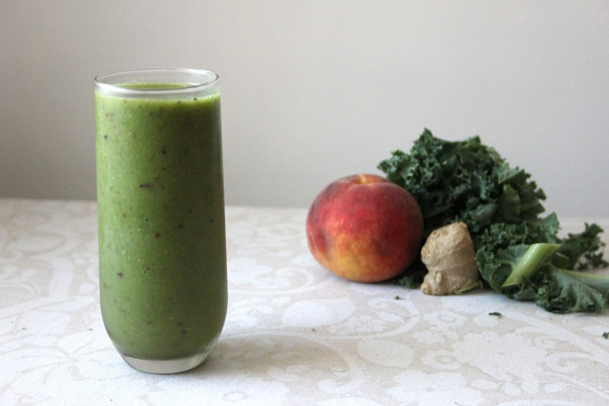 Peachy Ginger Green Monster Smoothie