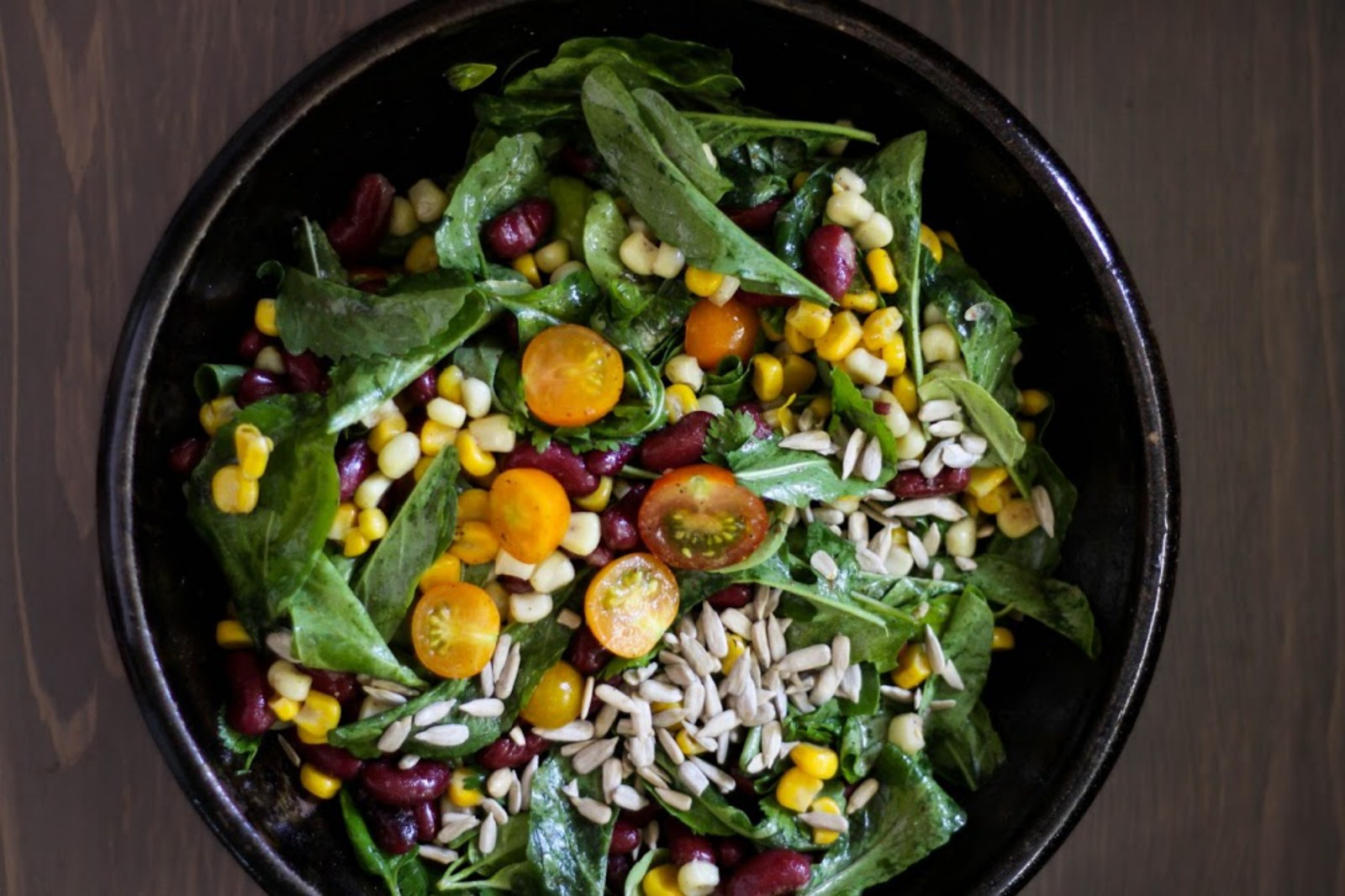 Arugula Basil Salad With Sweet Corn, Red Beans, Lemon + Spices