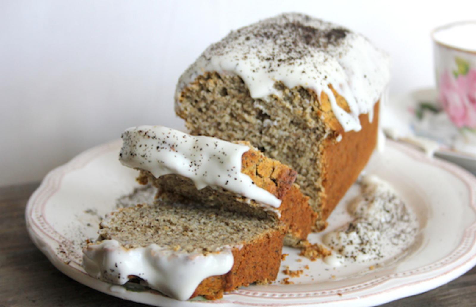 Earl Grey 'Honey' Loaf Cake with Coconut Cream Glaze [Vegan]