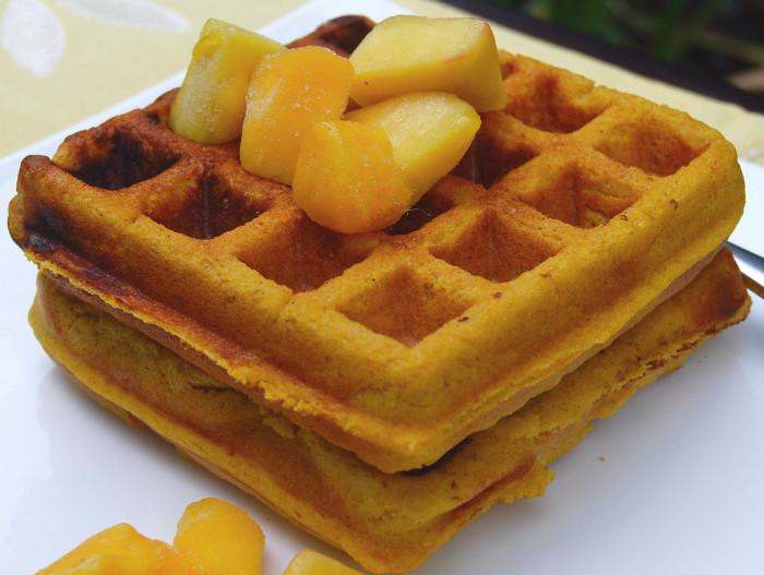 Healthy Summery Juicy Mango Waffles