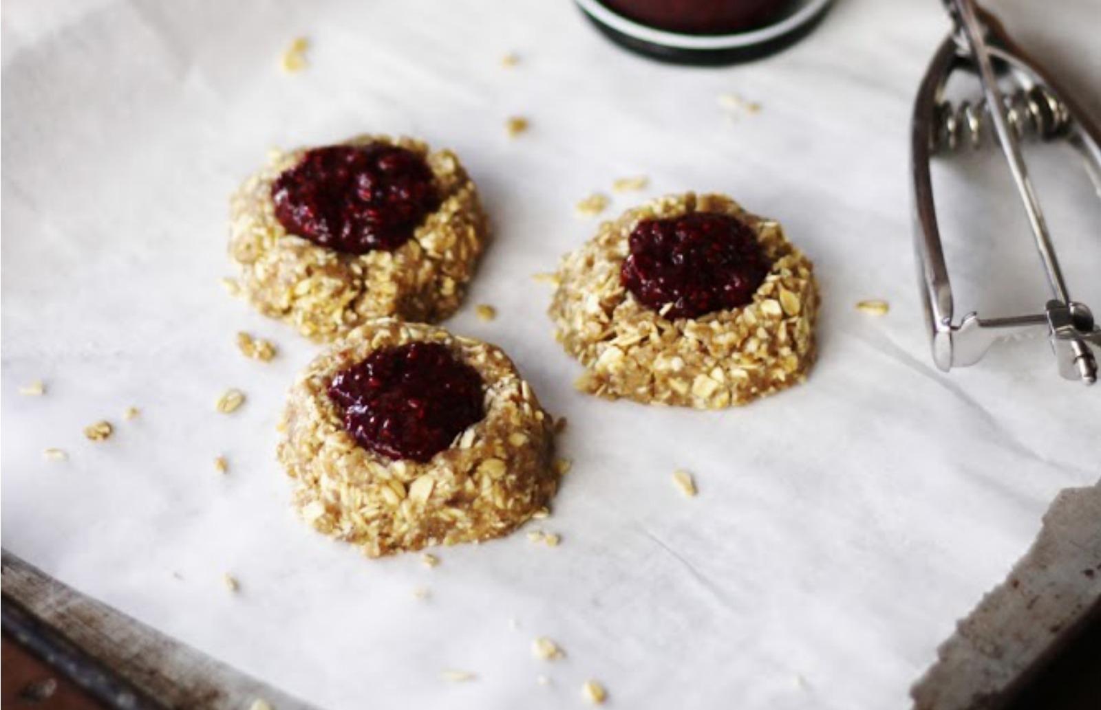 Oat & Cashew Thumbprint Cookies With Berry Chia Jam [Vegan]