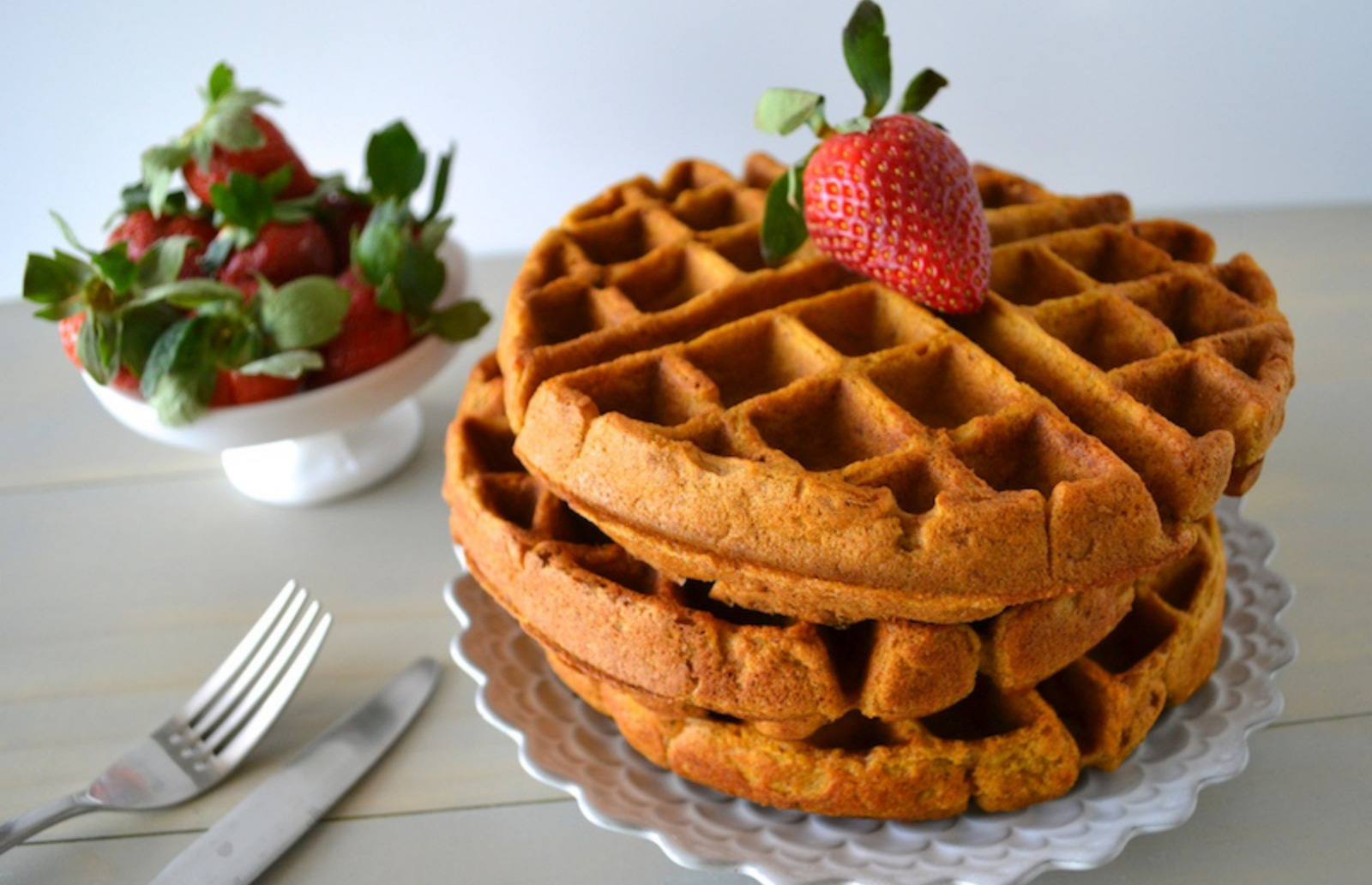 Pumpkin, Apple, and Pecan Pie Waffles