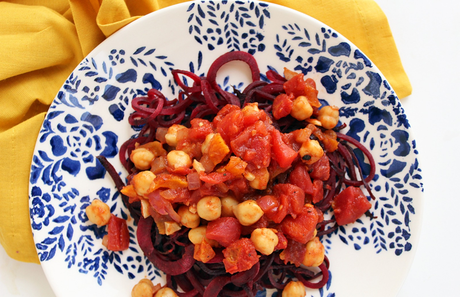 Spicy Moroccan Chickpeas with Beet Noodles [Vegan]
