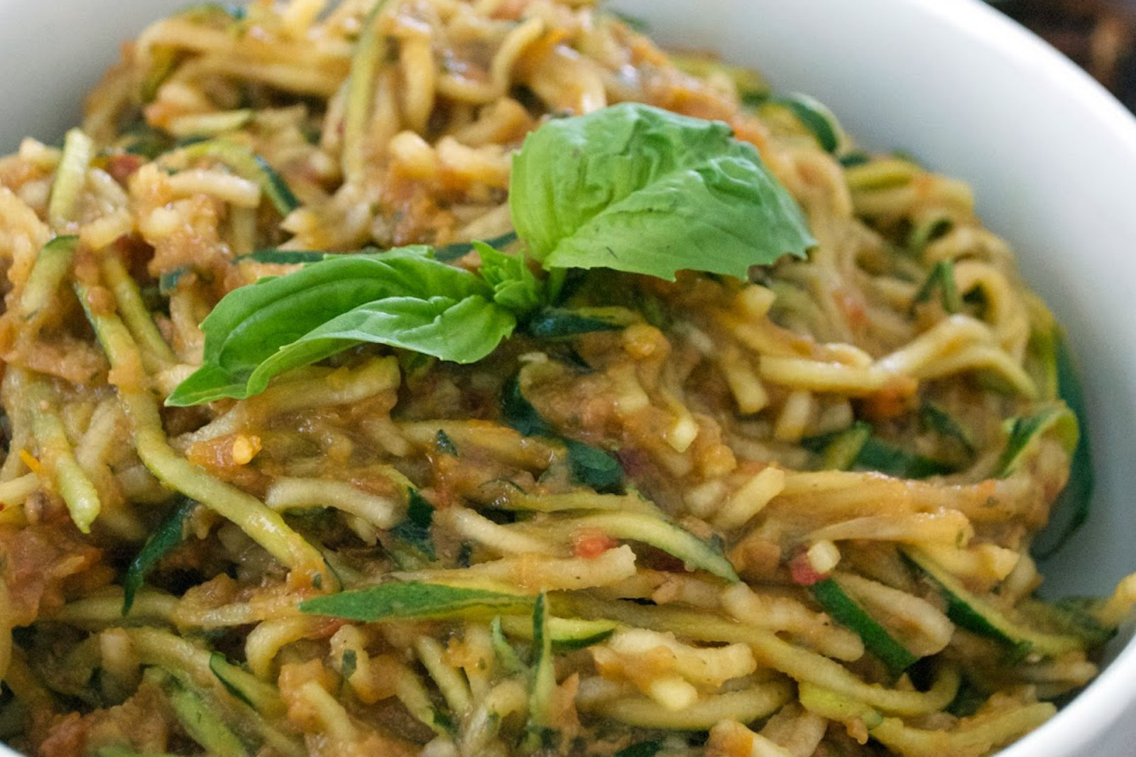 Traditional Spaghetti Made Vegan With Zucchini Noodles