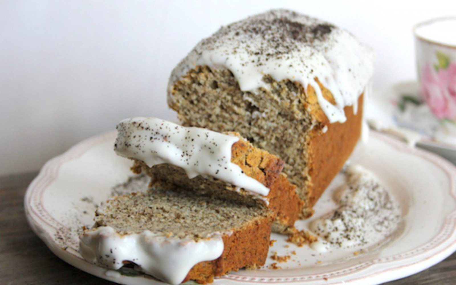 earl grey honey loaf cake with coconut cream glaze
