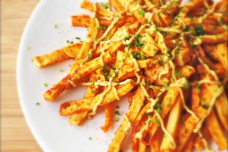 Chili Cheese Turnip Fries [Vegan]