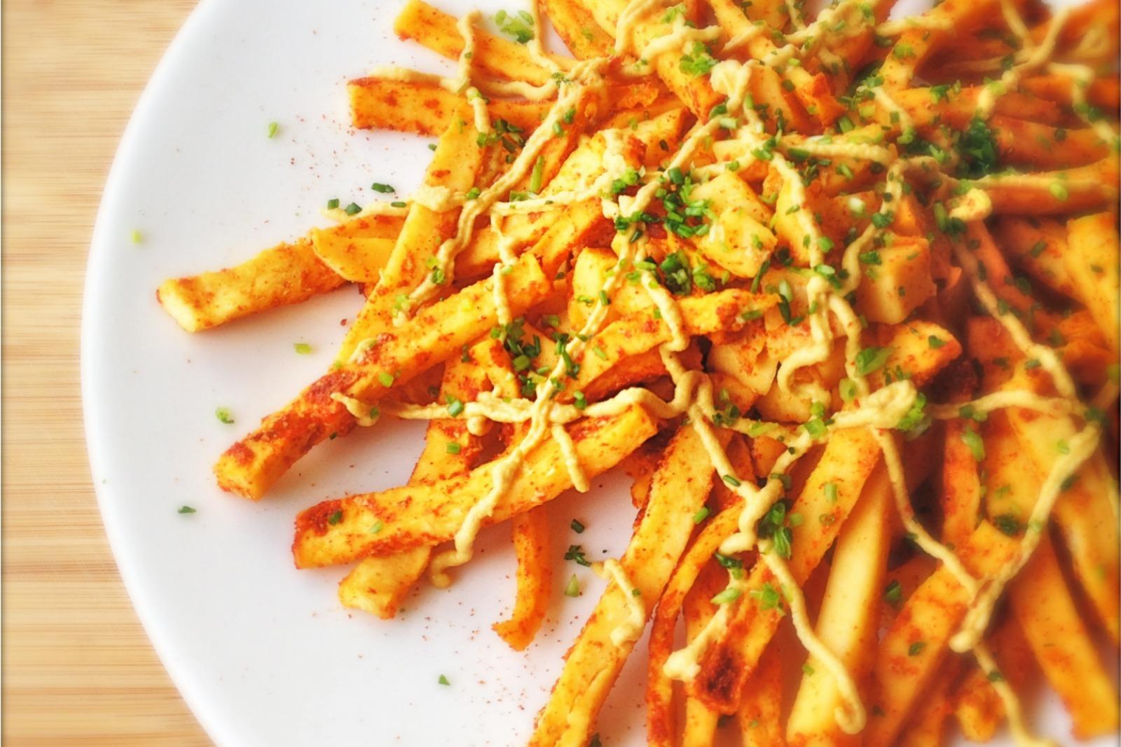Chili Cheese Turnip Fries [Vegan]