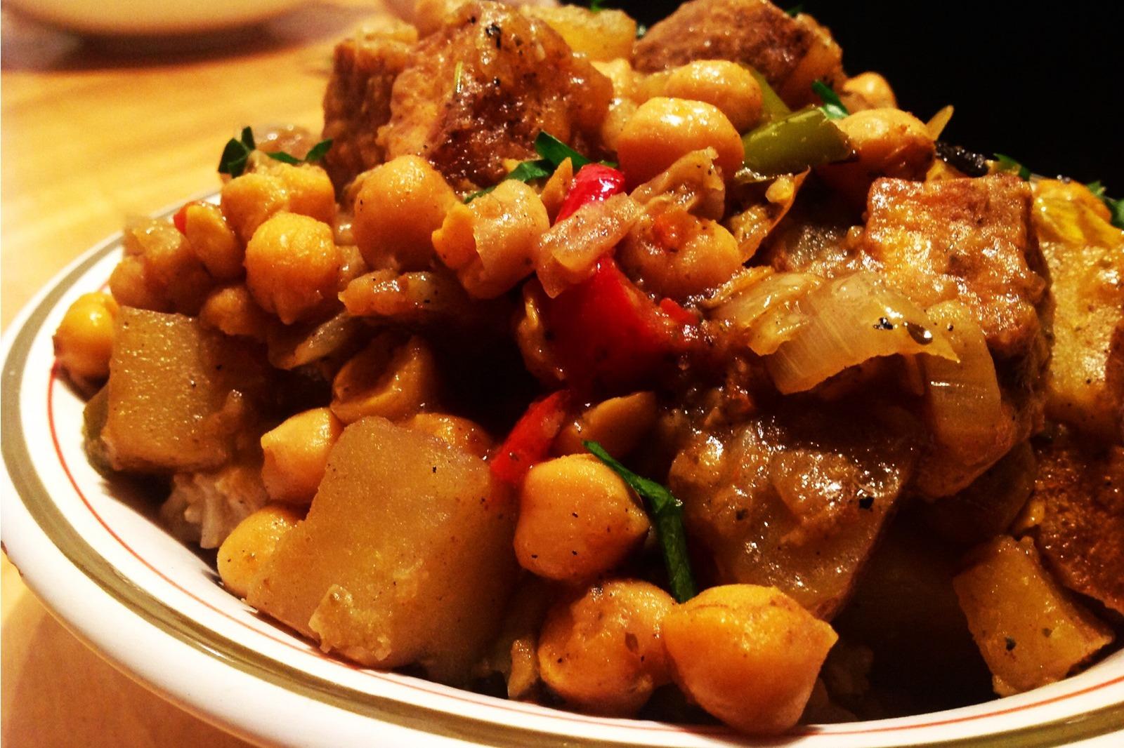 Vegan Jamaican Curried Tofu With Chickpeas