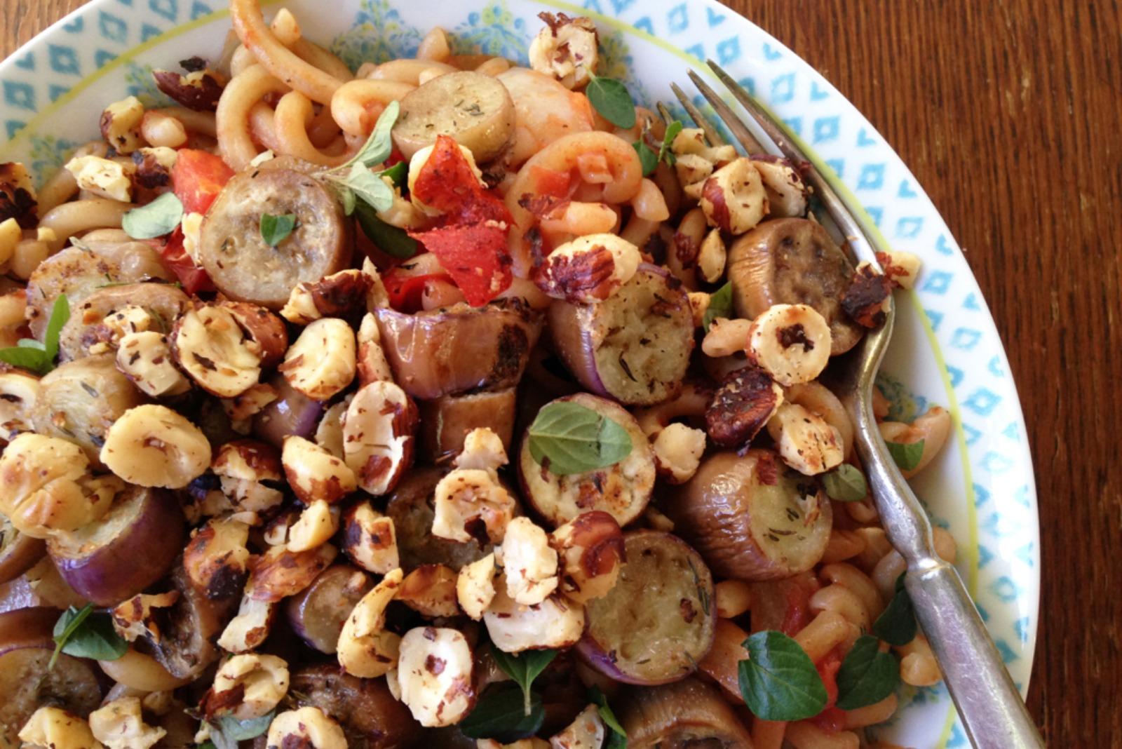 Toasted Hazelnut and Eggplant Pasta [Vegan]