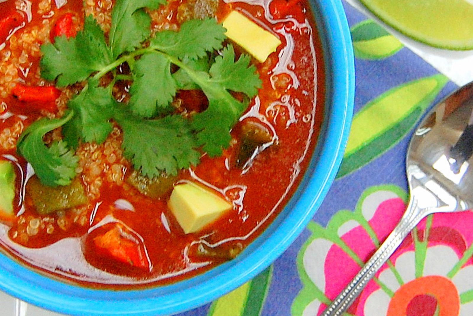 Toasted Quinoa Mexican Soup [Vegan]