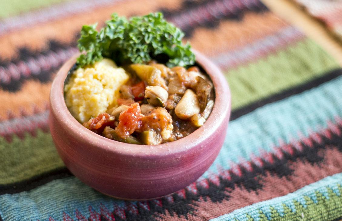 polenta and eggplant stew