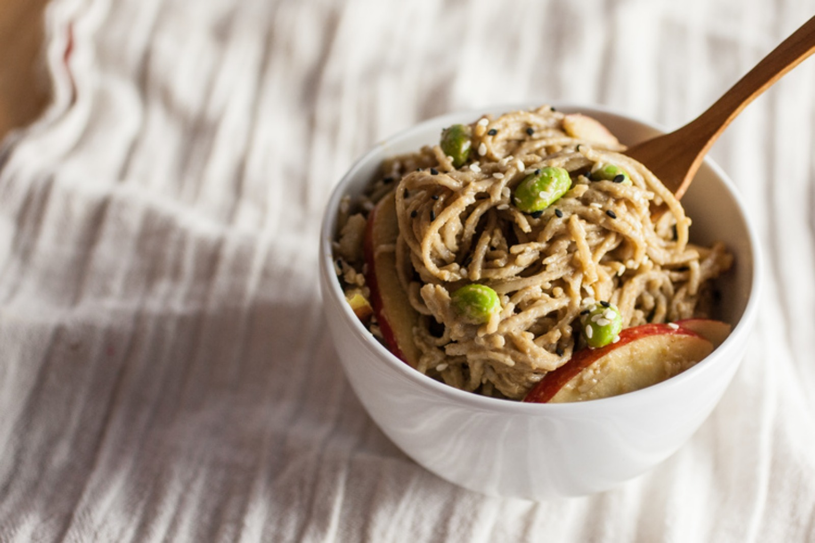 Maple Peanut Soba Salad with Edamame & Apples [Vegan]