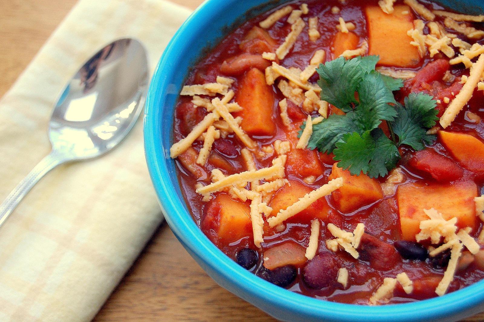 Three Bean and Sweet Potato Chili [Vegan]