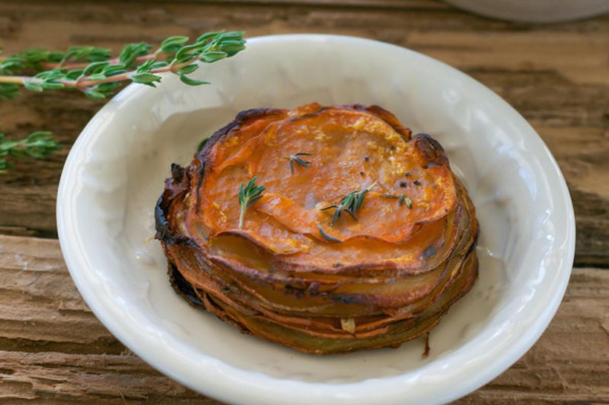 Maple and Thyme Potato, Beet, Sweet Potato Stacks (A.K.A Pomme Annies) [Vegan, GF]