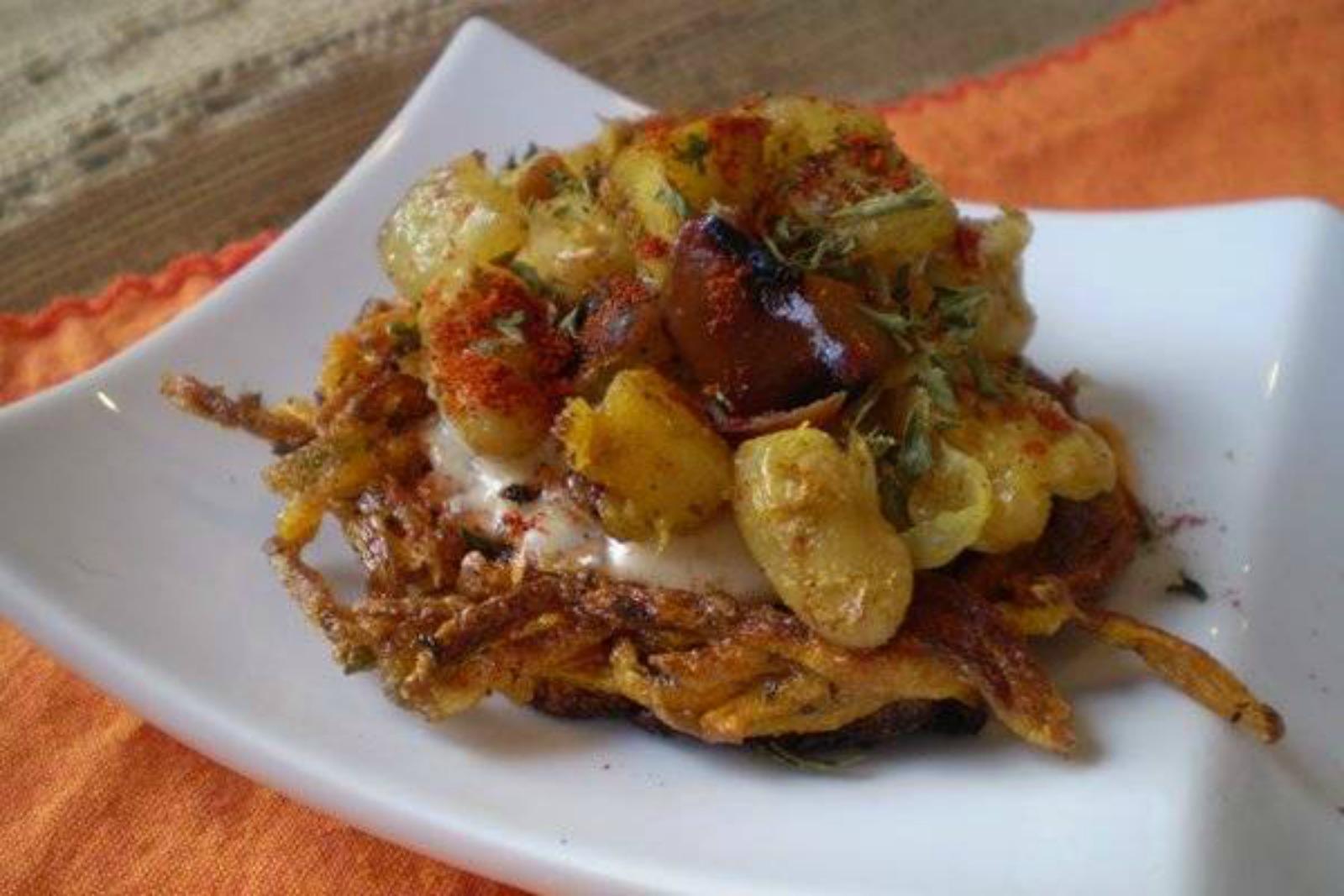 Vegan Sweet Potato Latkes With Curried Onion-Apple-White Beans