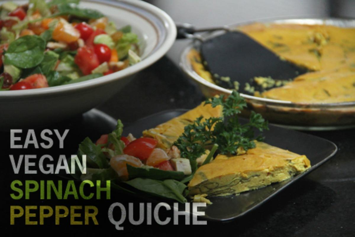Spinach and Pepper tofu Quiche [Vegan, Gluten-Free]